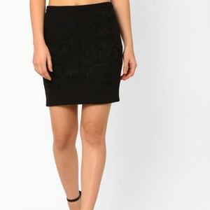zara Black Stitched Waist & Back Slit Pencil Skirt